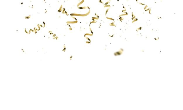 Modèle de fond de célébration avec des rubans d'or de confettis. carte riche de voeux de luxe.