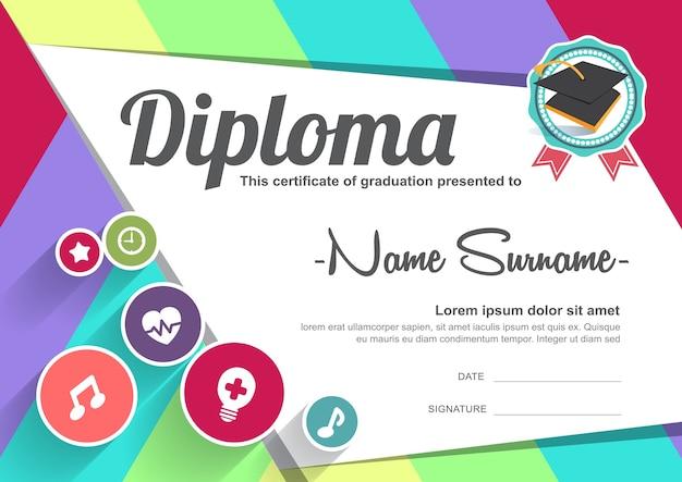 Modèle de fond de certificat de diplôme d'enfants d'âge préscolaire