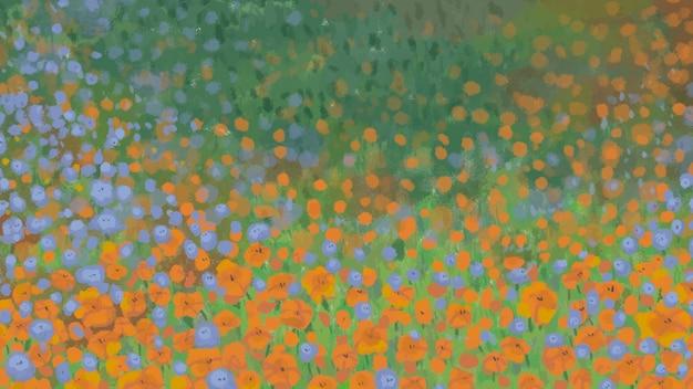 Modèle de fond de champ de pavot en fleurs