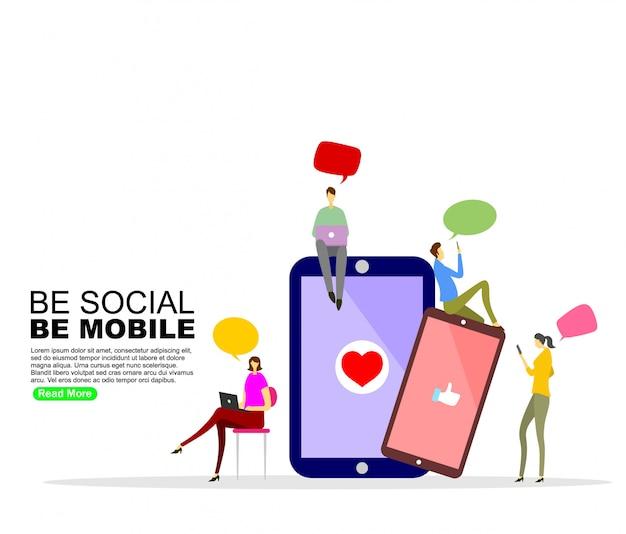 Modèle de fond de communication de médias sociaux