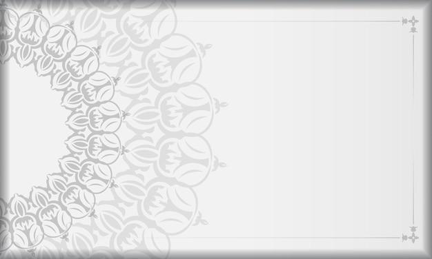 Modèle de fond de conception imprimable avec ornement vintage. bannière vectorielle blanche avec des ornements de mandala pour votre logo.