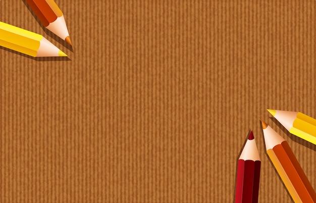 Modèle de fond avec des crayons de couleur