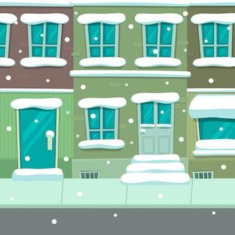 Modèle de fond de dessin animé hiver ville maison scène