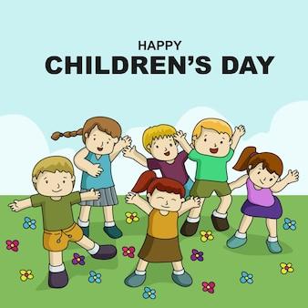 Modèle de fond de dessin animé joyeux jour des enfants