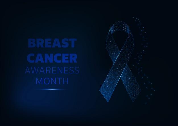 Modèle de fond du mois de sensibilisation au cancer du sein avec ruban de symbole rougeoyant et texte.