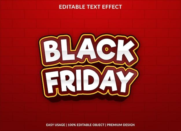 Modèle de fond d'effet de texte vendredi noir vecteur premium