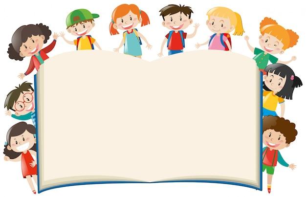Modèle de fond avec les enfants autour du livre