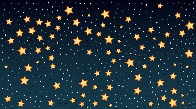 Modèle de fond avec des étoiles brillantes dans le ciel sombre
