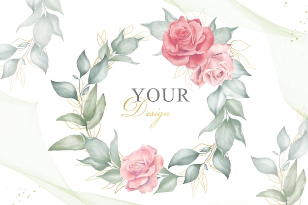 Modèle de fond floral d'arrangement de couronne modifiable