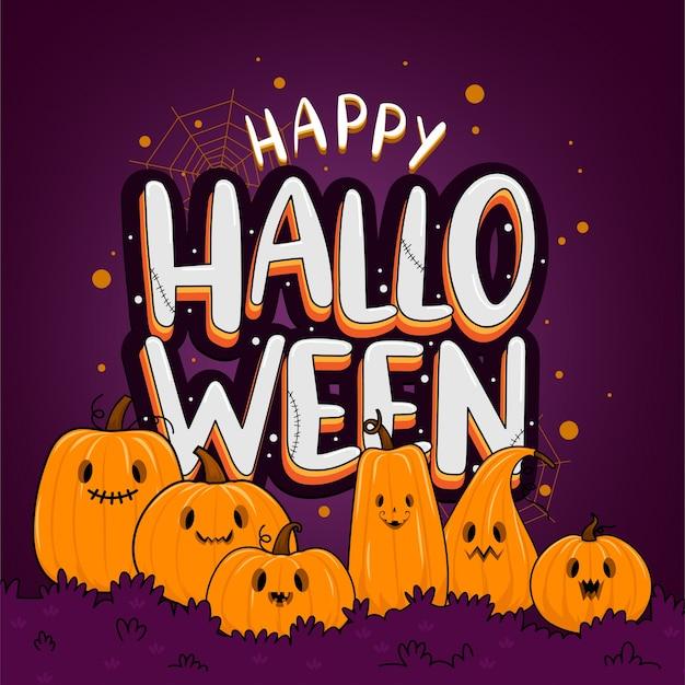 Modèle de fond happy halloween dans l'obscurité avec citrouille