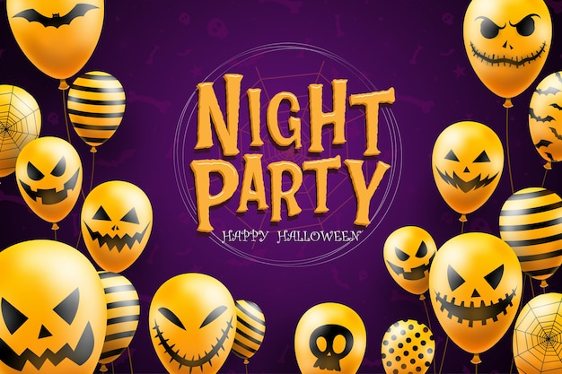 Modèle de fond happy halloween dans l'obscurité avec des icônes de ballons visage diable