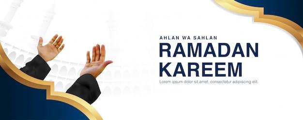 Modèle de fond d'illustration ramadan kareem en conception réaliste 3d.