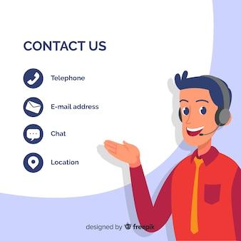 Modèle de fond d'informations de contact dessinés à la main