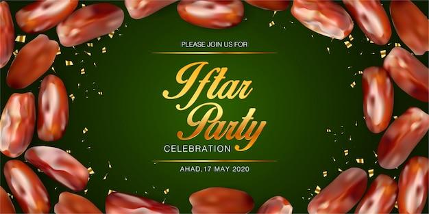 Modèle de fond d'invitation de fête iftar avec des dates réalistes. bannière du festival islamique eid mubarak. bannière de vacances