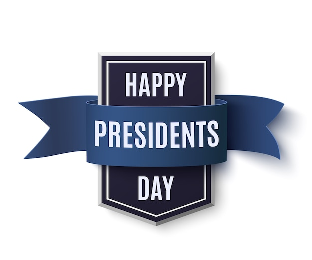 Modèle de fond de jour des présidents heureux. badge avec ruban bleu isolé sur fond blanc.
