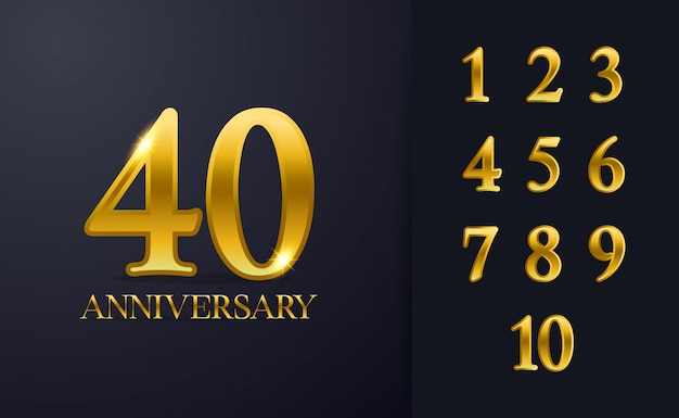 Modèle de fond joyeux 40e anniversaire. avec la couleur noire et or