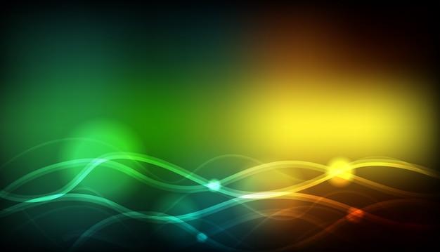 Modèle de fond avec des lignes ondulées vertes et jaunes
