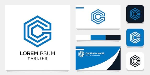 Modèle de fond de logo c initiale monogramme abstrait, conception de carte de visite