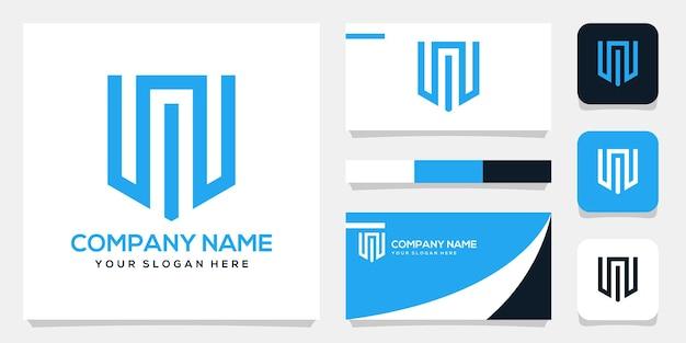Modèle de fond de logo mw initial monogramme abstrait, conception de carte de visite