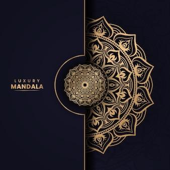 Modèle de fond de mandala de luxe en couleur dorée
