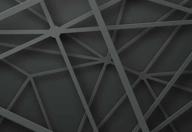 Modèle de fond noir avec des lignes qui se croisent avec une ombre.