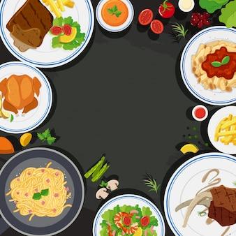 Modèle de fond avec de la nourriture saine
