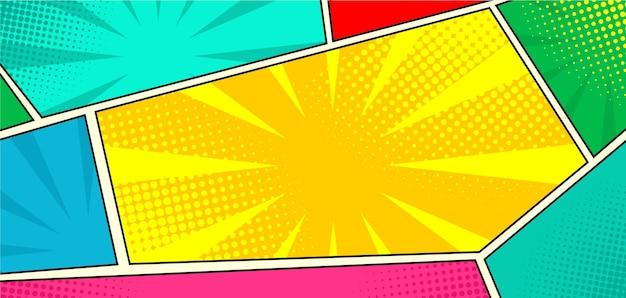Modèle de fond de panneau de bande dessinée coloré