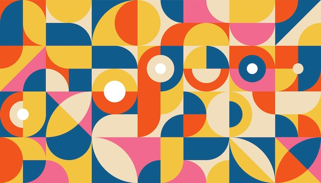 Modèle de fond plat de formes géométriques abstraites colorées