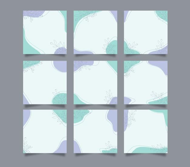 Modèle de fond de post instagram de médias sociaux mignon moderne dans un style de puzzle de grille