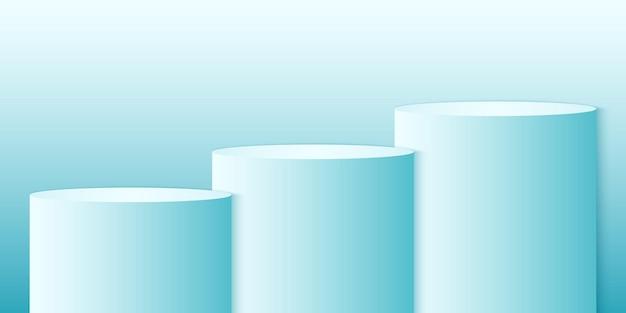 Modèle de fond de produit de cercle minimal de podium rond dégradé cyan maquette pour affichage