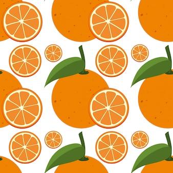 Modèle de fond sans couture avec des oranges fraîches