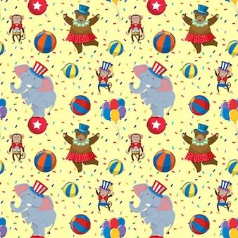 Modèle de fond sans couture avec ours de cirque et éléphant