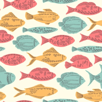 Modèle de fond sans couture de poissons mignon dessiné main en style vintage de couleur et doodle