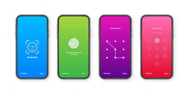 Modèle de fond de smartphone de mot de passe d'authentification de verrouillage d'écran.