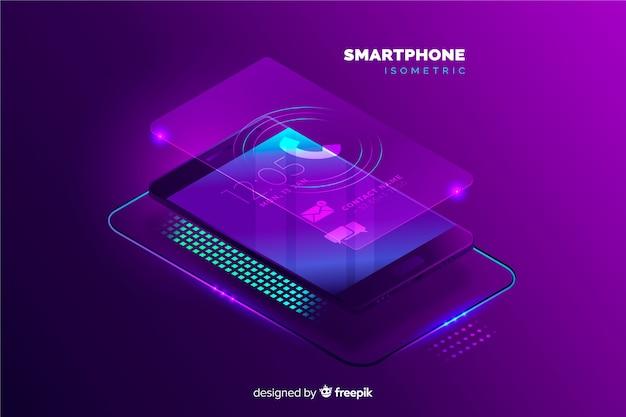 Modèle de fond de téléphone mobile isométrique