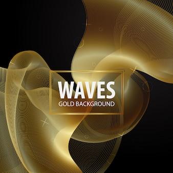 Modèle de fond de vague dorée