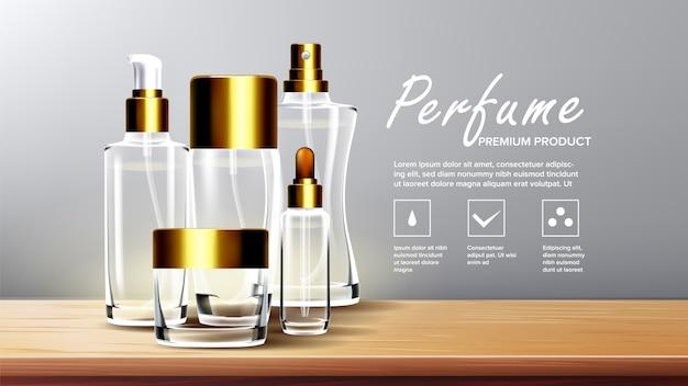 Modèle de fond de verre cosmétique
