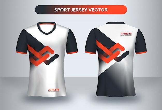 Modèle de football jsersey, vue de face et de dos du t-shirt d'uniforme de club de football.