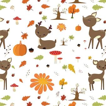 Modèle de forêt automne avec cerf mignon