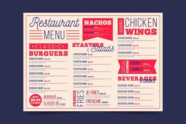 Modèle de format horizontal de menu de restaurant numérique rétro