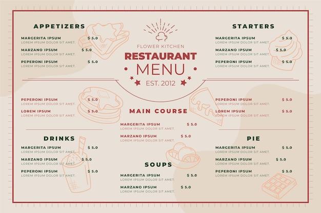 Modèle de format horizontal de menu de restaurant numérique