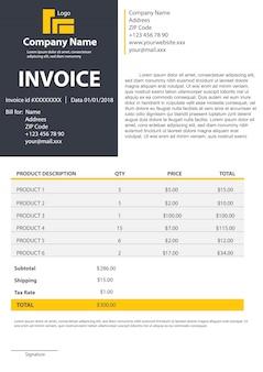 Modèle de formulaire de facture pour votre fond de facturation.