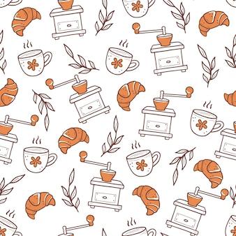 Modèle de fournitures de brassage de café de style doodle