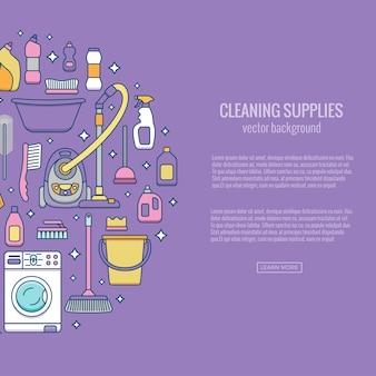 Modèle de fournitures de nettoyage ménager avec des éléments définis dans un style plat de contour.