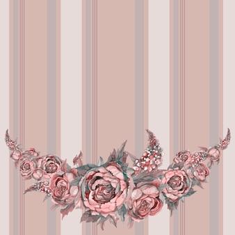 Modèle de frise sans couture avec des fleurs à l'aquarelle.