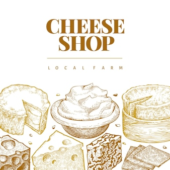 Modèle de fromage. illustration laitière dessinée à la main. bannière de différents types de fromages de style gravé. fond de nourriture rétro.