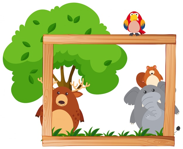 Modèle de frontière avec des animaux sauvages et des arbres