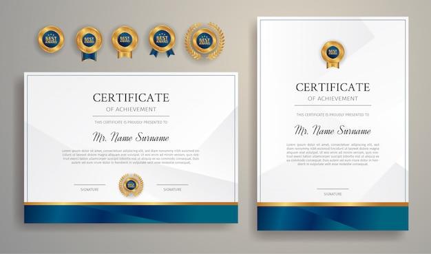 Modèle de frontière de certificat d'appréciation bleu et or avec des badges de luxe