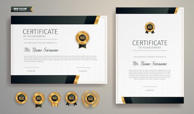 Modèle de frontière de certificat d'appréciation noir et or avec badge de luxe et motif de ligne moderne