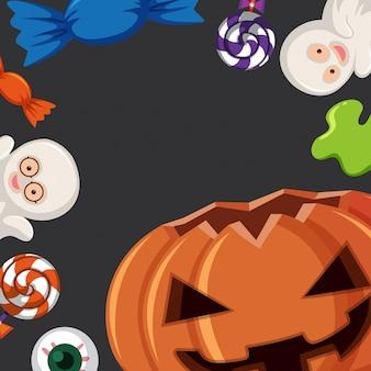 Modèle de frontière avec des éléments d'halloween